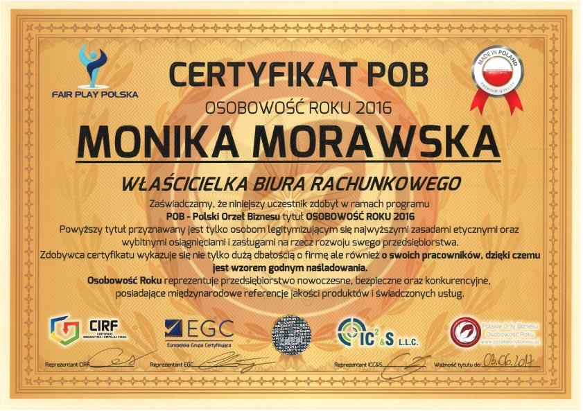certyfikat POB Morawska Kraków